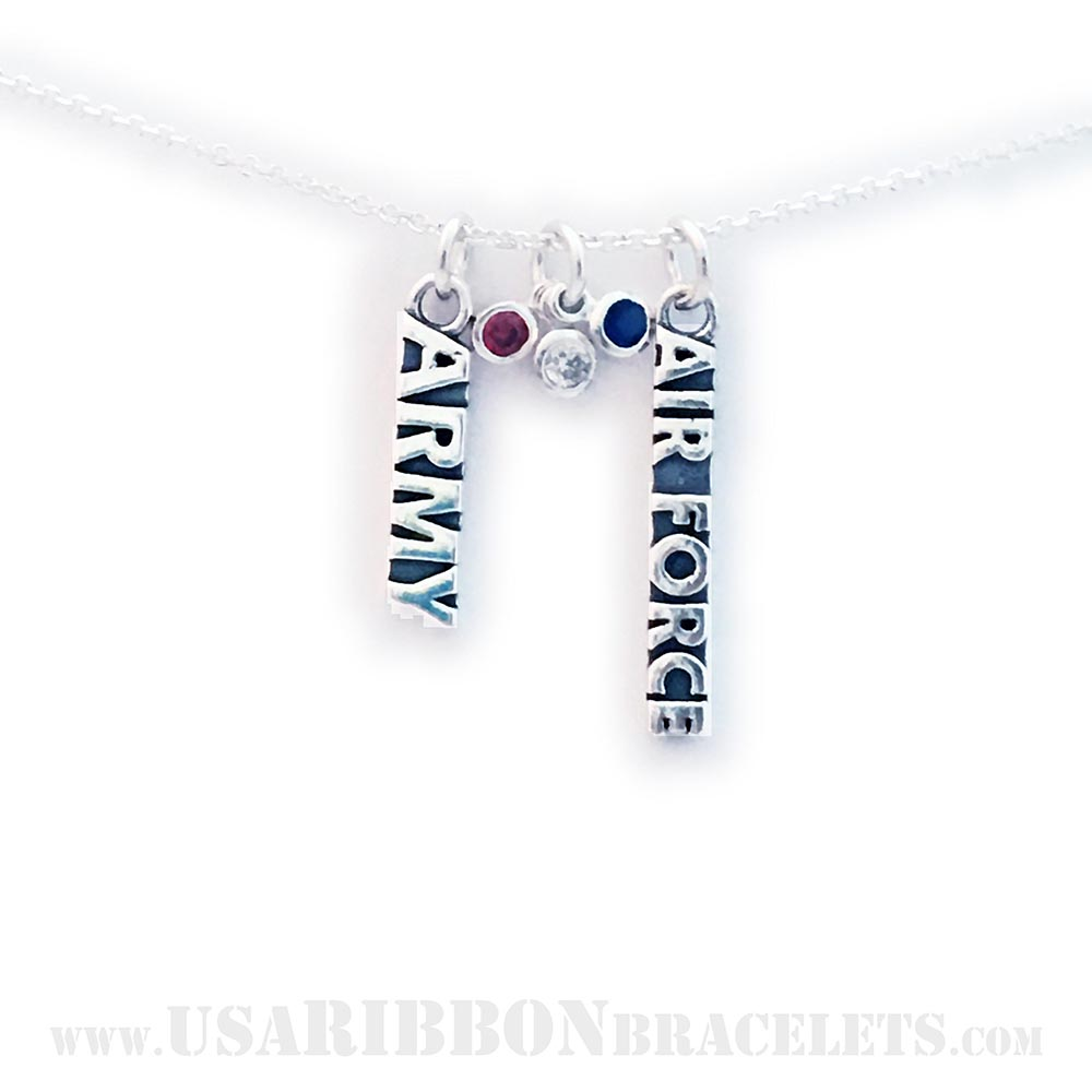 USA-N-RWB-1  This Red White and Blue Charm Necklace is shown on a sterling silver Rolo Chain necklace. *They added an Army Charm and an Air Force Charm.*