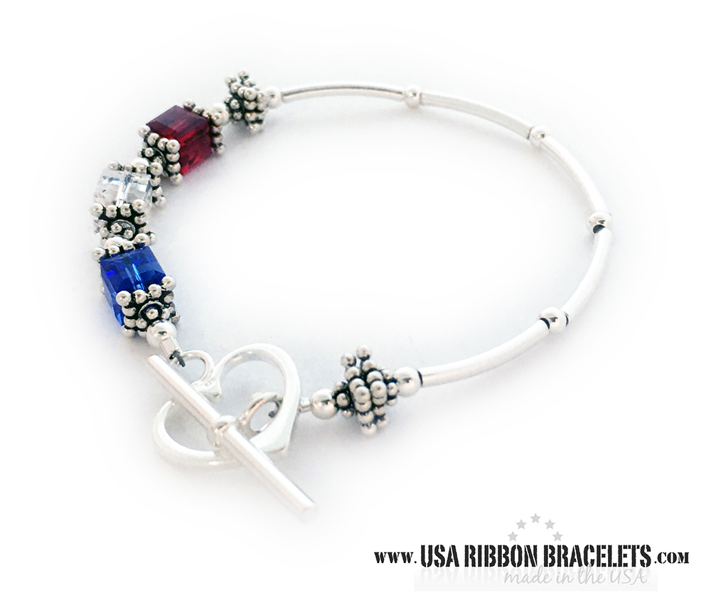 6mm cube Large Red White and Blue Bracelet (charm optional) - This USA-B2 Red White and Blue bracelet is shown with a Heart Toggle Clasp