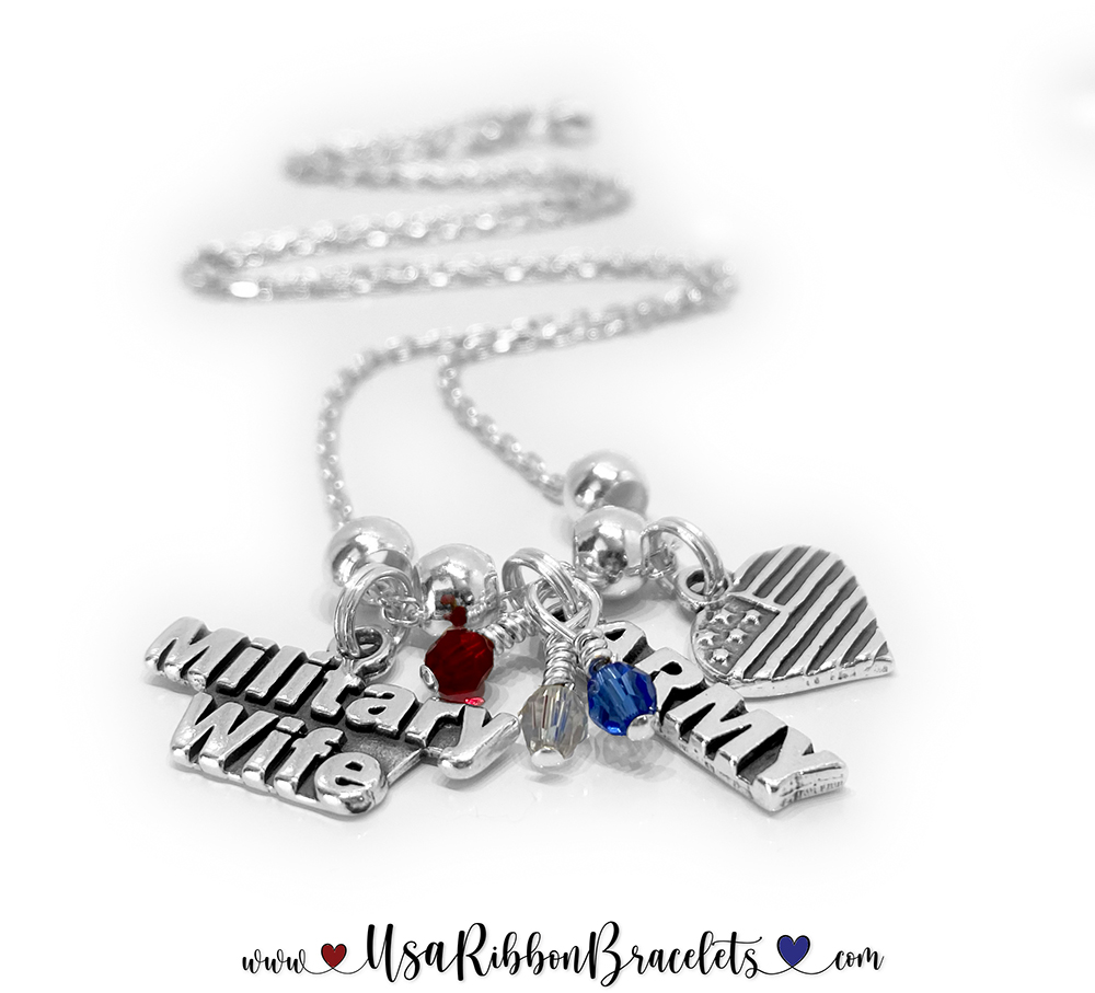 Military Wife & Army Wife Charm Necklace with Red White and Blue crystals