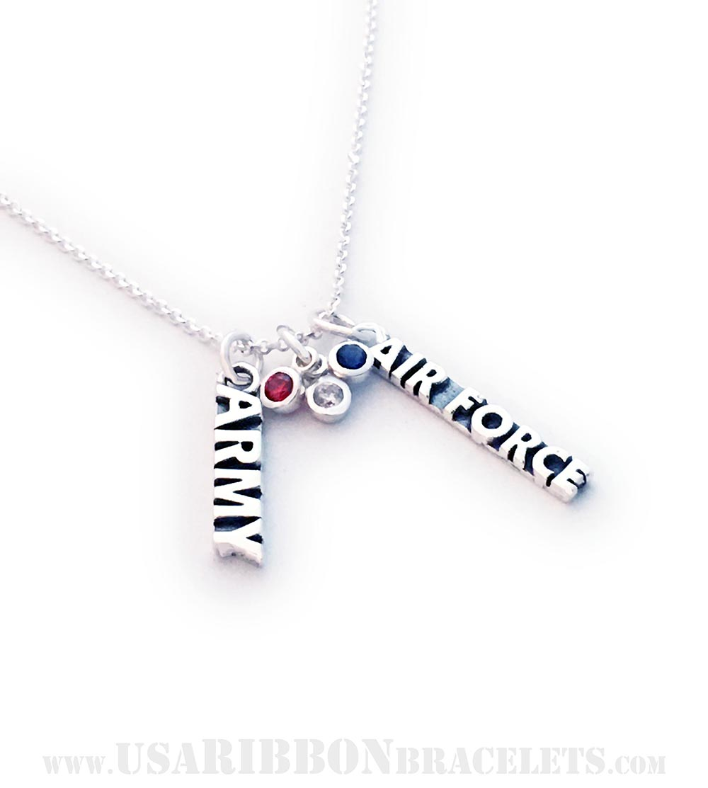 This Red White and Blue Charm Necklace is shown on a sterling silver Rolo Chain necklace. *They added an Army Charm and an Air Force Charm.*