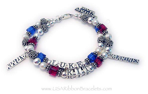 The Red White and Blue Crystal and Pearl Military Mom Bracelet is shown 2 strings and 2 names (Luke and Kit) with 3 add-on charms: Army charm, Marines charm and a Military mom charm. It is shown with one of my free lobster claw clasps.