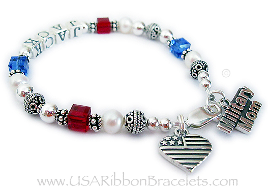 Military Mom Charm Bracelet with JACK written on it for MOMMY