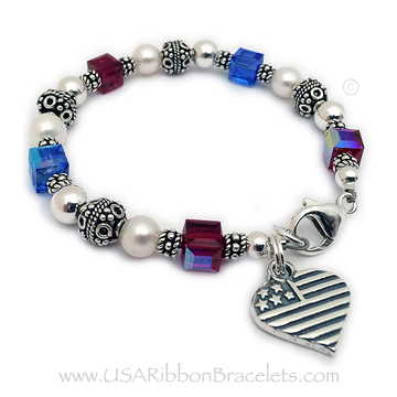 Military Mom or Wife Charm Bracelets - Red White and Blue Jewelry