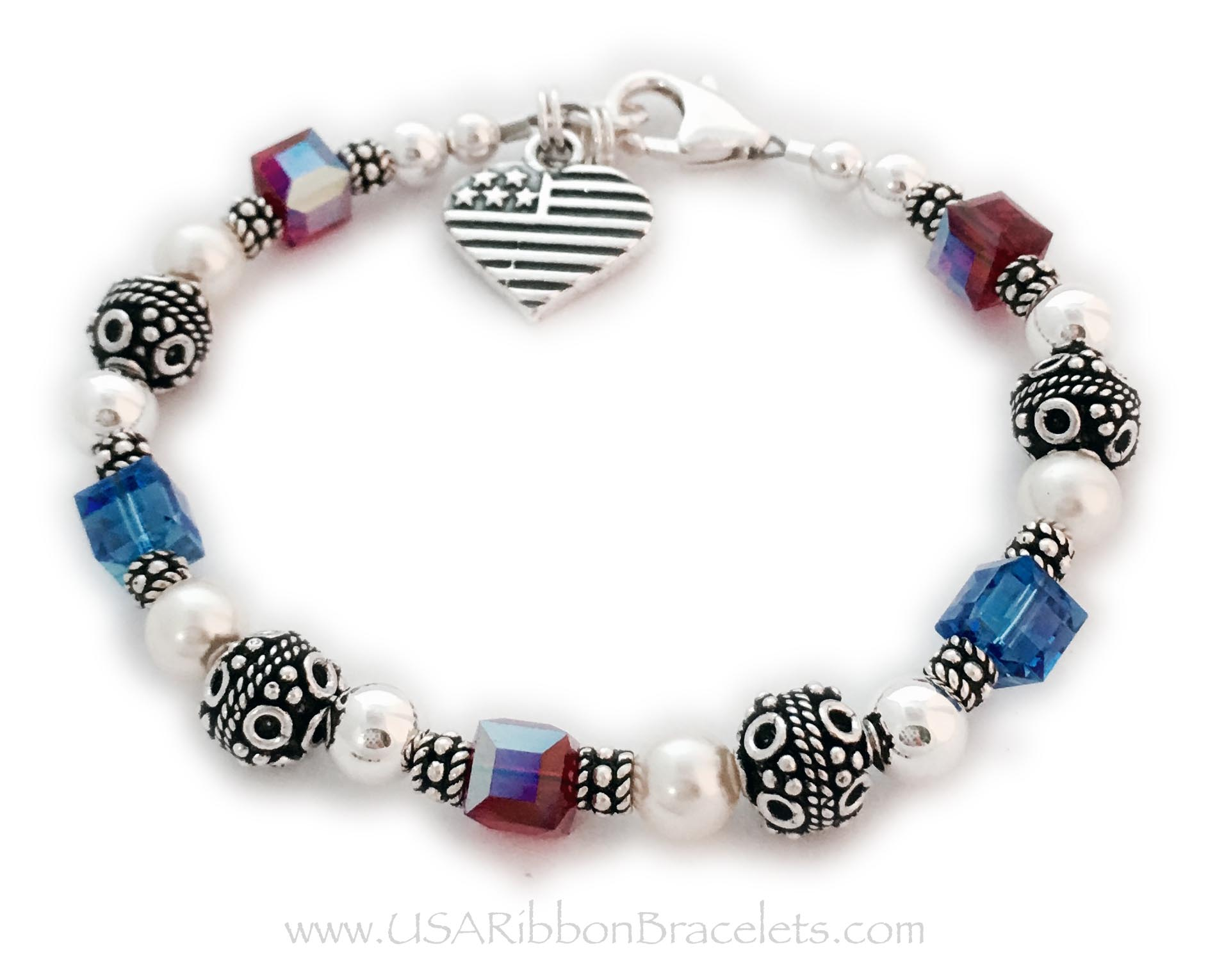 The Red White and Blue Crystal Military Mom Charm Bracelet. Shown with one of my free lobster claw clasps. The Heart Flag charm is included in the price.