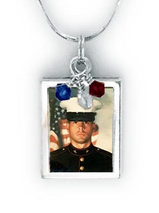 Close up image of Red White and Blue Necklace with a photograph of your military man -USA-N-RWB2