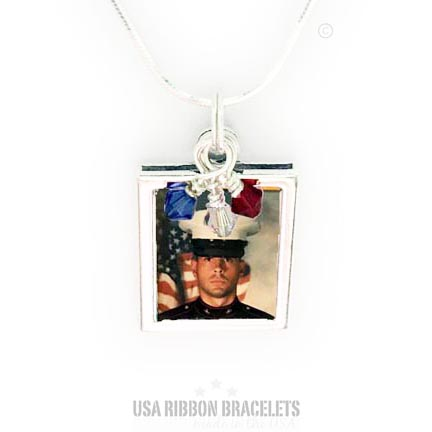 Military Mom or Wife Red White and Blue Necklace - close up