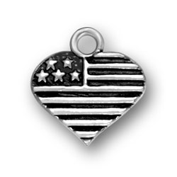 Product Description - Sterling Silver Heart Shaped American Flag Charm USA Citizens or anyone who loves America will be delighted to own and wear this Sterling Silver Heart Shaped American Flag Charm. Our Sterling Silver Heart Shaped American Flag Charm was made here in the United States! This Sterling Silver Heart Shaped American Flag Charm would make a great gift for a family member, military member, military spouse, military mom or anyone who loves the United States. You can wear this Sterling Silver Heart Shaped American Flag Charm on a bracelet, necklace, ankle bracelet, earring or any way you would like to wear your charm! You can place the Sterling Silver Heart Shaped American Flag Charm on a current charm bracelet, or you can purchase a Sterling Silver Charm Bracelet here at Charm Factory.  You can view our Charm Bracelets HERE. The Sterling Silver Heart Shaped American Flag Charm would make for an excellent 4th of July gift, memorial day gift, or just a gift as a reminder of the patriotism that you have for the United States.