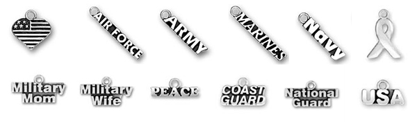 Sterling Silver Military Charms - USA Heart Flag, Air Force, Army, Marines, Navy, Ribbon, Military Wife, Military Mom, Peace, Coast Guard, National Guard and USA sterling silver charms to add to a charm bracelet or charm necklace