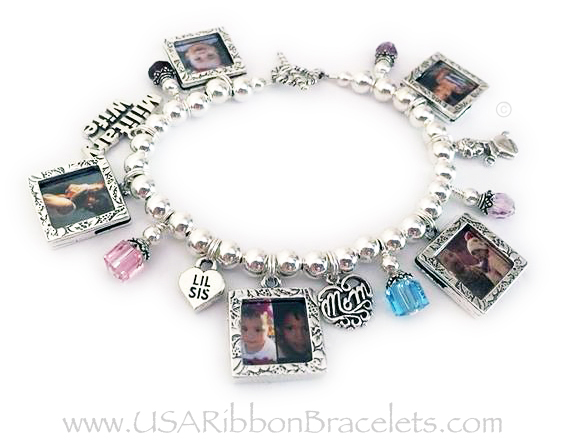 Military Wife Charm bracelet Square Textured Picture Frame Charm, Birthstone Crystal Dangle, MILITARY WIFE charm, Square Textured Picture Frame Charm, Birthstone Crystal Dangle, LIL SIS charm, Square Textured Picture Frame Charm, Filigree MOM charm, Birthstone Crystal Dangle, Square Textured Picture Frame Charm, Birthstone Crystal Dangle, Praying Girl Charm, Square Textured Picture Frame Charm, Birthstone Crystal Dangle.
