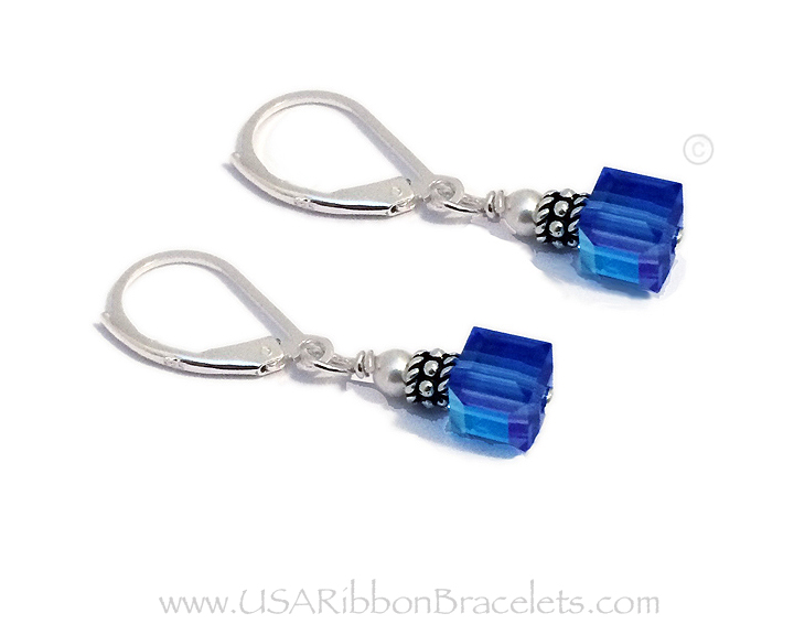 6mm Blue Square or Cube Swarovski Crystal Earrings
