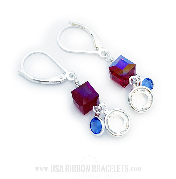 Swarovski Crystal Earrings - Red White & Blue - USA-E7
