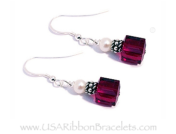 8mm Red Cube or Square Swarovski Crystal Earrings