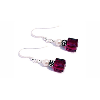 Red Square Crystal Earrings