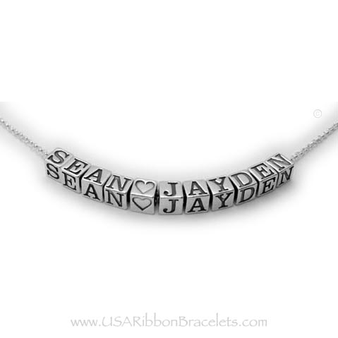 Name Necklace with no spacers - Sean (heart) Jayden shown