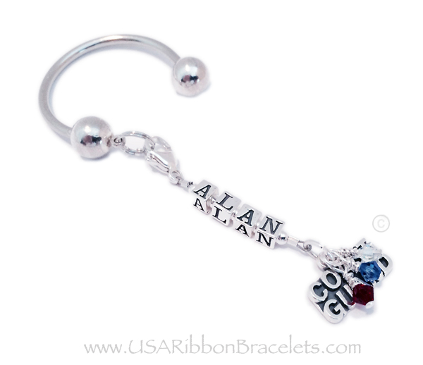 Military Name Key Chain with Alan shown and a Coast Guard picked. This Military Key Chain comes with the Red White and Blue Crystals