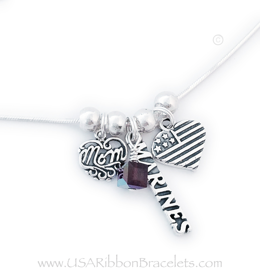 Item: USA-N8-Marines-Marines Marines Mom Charm Necklace shown with an add-on birthstone crystals (February).