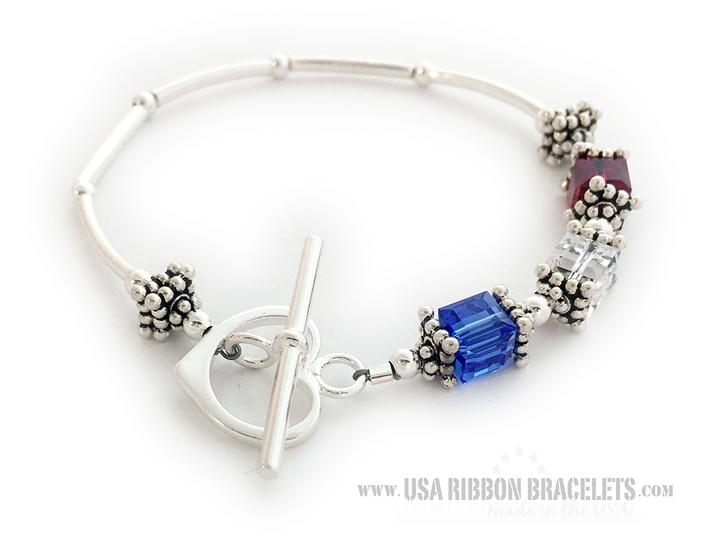 This USA-B2 Red White and Blue bracelet is shown with a Heart Toggle Clasp.