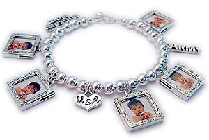 Military Moms Charm Bracelet with Picture Frames