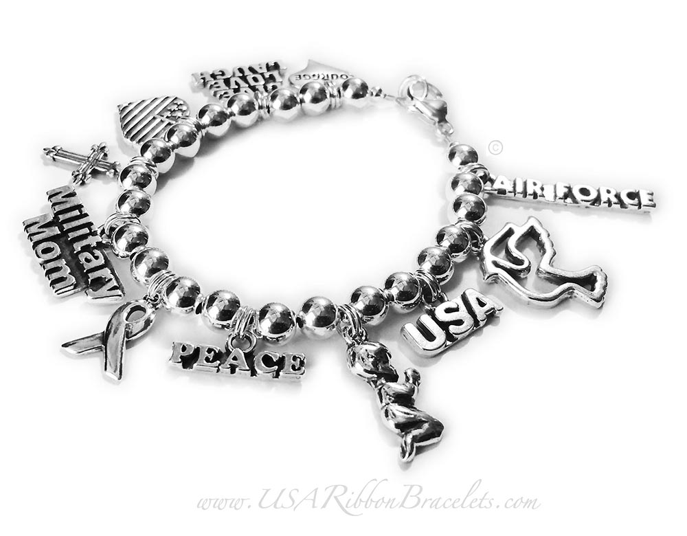 Air Force Military Mom Charm Bracelet   Charms: Courage in a Heart, LIVE LOVE LAUGH, Heart Flag, Fancy Cross, Military Mom, Ribbon, PEACE, Praying Boy, USA, Peace Dove, AIR FORCE