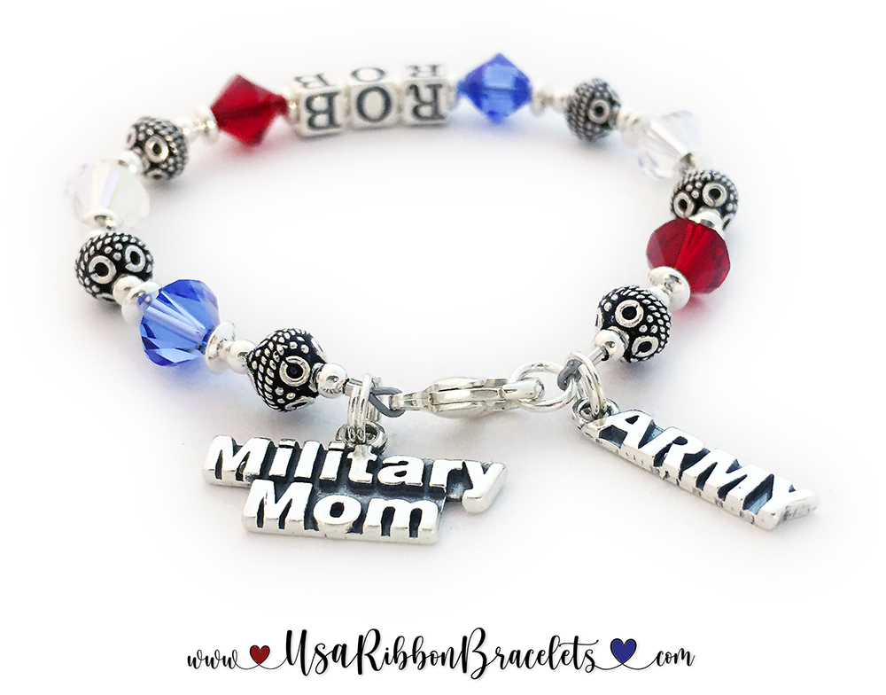 Shown with 2 add-ons: MILITARY MOM Charm & ARMY Charm.