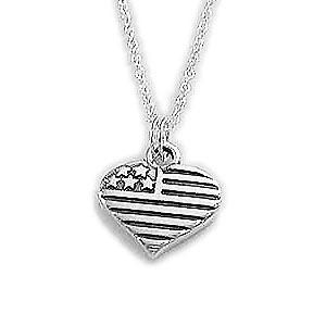 Heart FLag Charm Necklace