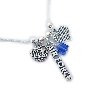 Military Wife or Military Mom Necklaces with Army, Air Force, Navy, Marines and Coast Guard Charms