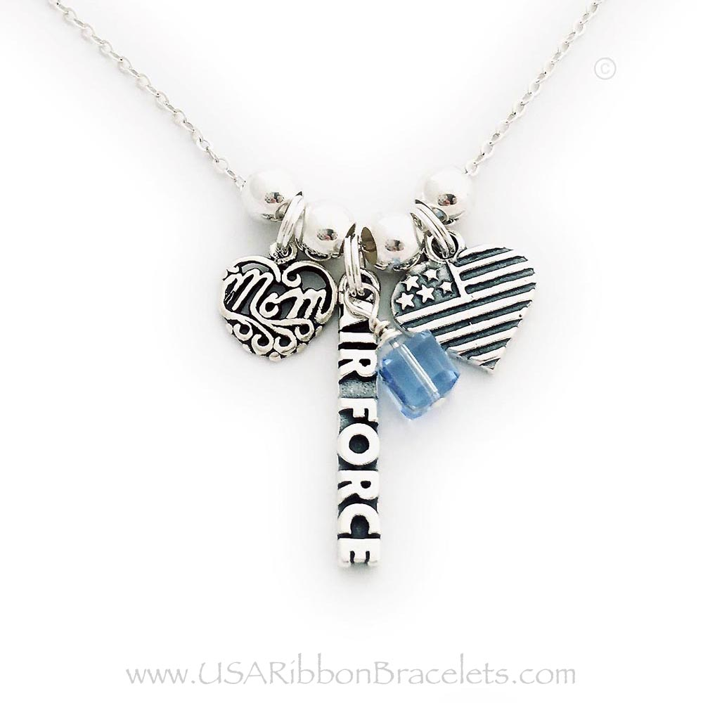"Air Force Mom necklace comes with a Air Force charm, a MOM charm and a USA Heart Flag charm. Shown on a 18"" - .925 sterling silver ROLO chain. They added a December or Blue Topaz Birthstone Crystal Dangle Charm."