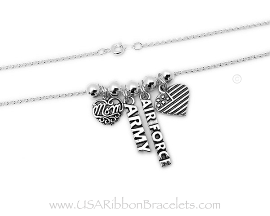 This is a sterling silver Air Force and Army Mom necklace. They added a MOM Filigree charm, Army charm, Army Charm, Air Force Charm and a Heart Flag charm, Shown on a Rolo Chain.