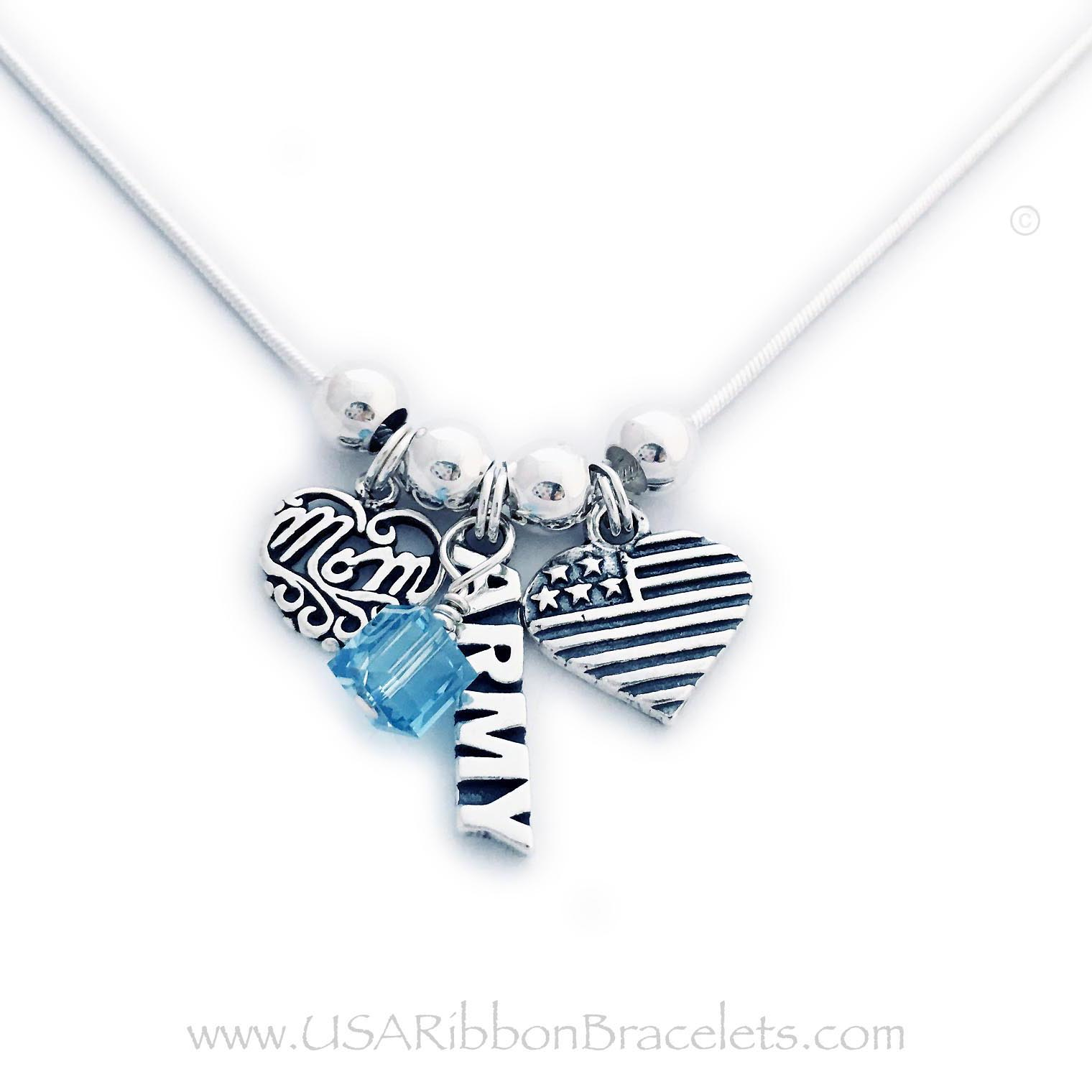 "USA-N8-Army with March Birthstone add-on Army Mom necklace comes with a Army charm, a MOM charm and a USA Heart Flag charm. Shown on a 18"" - .925 sterling silver snake chain. The Crystal Dangle is an add-on. (March or Aquamarine Birthstone is shown)"