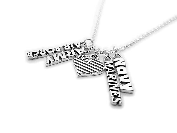 The necklace starts with a Heart Flag charm. They added 4 charms: Air Force, Army, Marines and Navy. Shown on a Rolo Chain. Everything is .925 sterling silver.