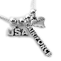USA Air Force Necklace with a COURAGE charm