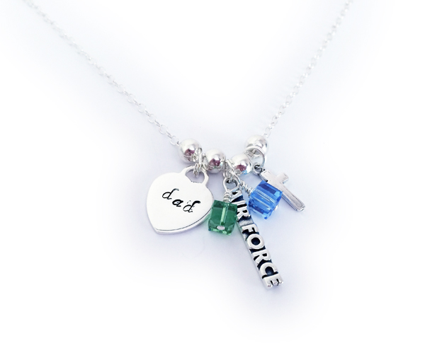 The necklace starts at $29 with no charms. They added an Engravable Heart and I hand-stamped DAD, August or Peridot birthstone crytal dangle, December birthstone crystal dangle, an Air Force charm and a Simple Cross charm.