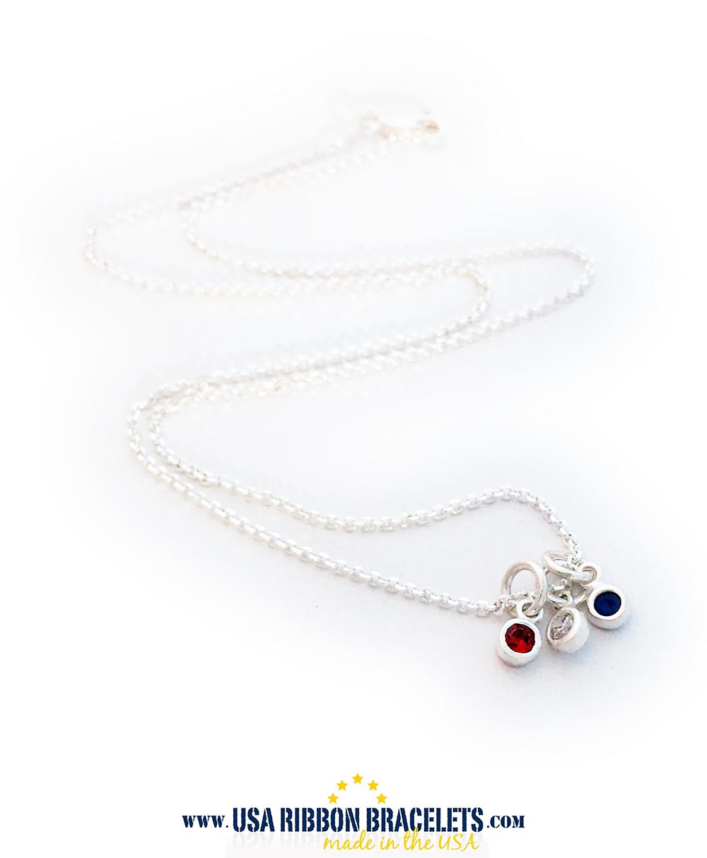 Sterling Silver USA Red White and Blue Tiny Charm Necklace
