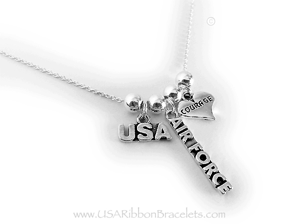 They added a USA charm, AIR FORCE Charm and a Courage in a Heart Charm.
