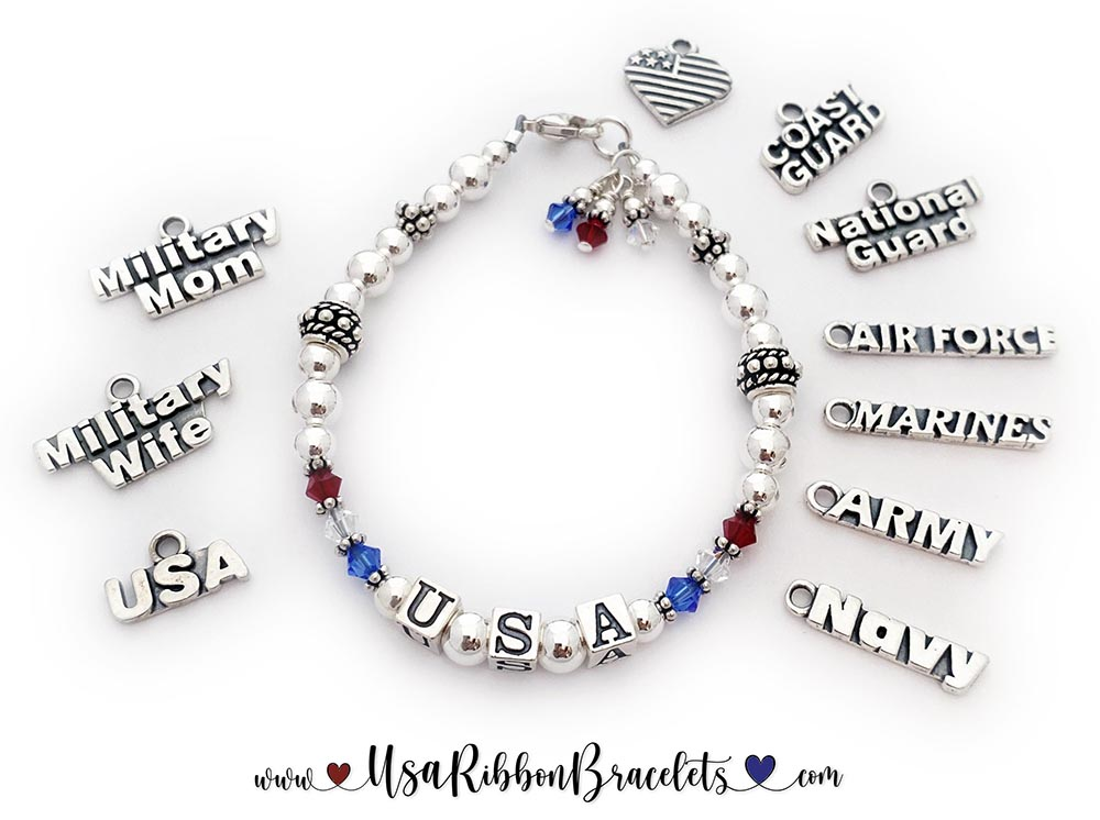 USA-B1 Enter: USA   The Red White and Blue Crystal USA Charm Bracelet is shown with a lobster claw clasp and some of my charm options.   (l-r - USA, Military Wife, Military Mom, Heart Flag, Coast Guard, National Guard, Air Force, Marines, Army and Navy sterling silver charms.
