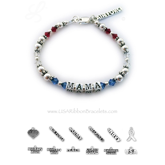 Air Force Mom Charm Bracelet - red white and blue crystals  - USA Bracelet 8