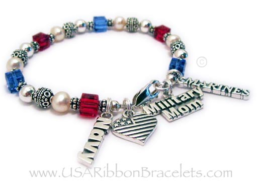 USA-B4 The Red White and Blue Crystal Military Mom Charm Bracelet - shown with 3 add-on charms: Military MOM charm, Navy Charm, and Marines Charm. Shown with one of my free lobster claw clasps.