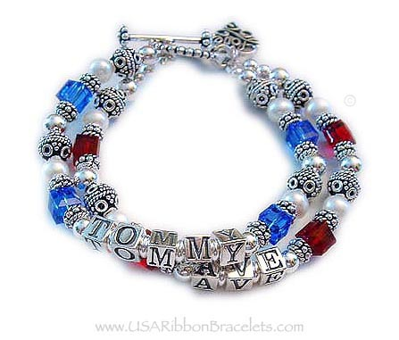 This is a Military Mom Bracelet with 2 strings and 2 names. They picked an upgraded clasp during the ordering process (Beaded Toggle clasp) and they added a Filigree Love charm to their order. See more pictures below. This bracelet is all .925 sterling silver and Swarovski crystals and pearls.