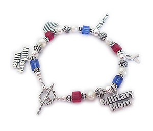 Red, White & Blue Bracelet for Military Mommys and Military Grandmas. Charms shown... Shown with an Military Wife, Heart Flag, (any branch), Ribbon & Military Mom charms.