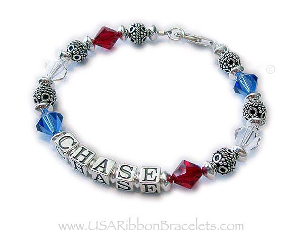 Red White and Blue Bracelet Number 1 Bracelet with the Name Chase and a Lobster Claw Clasp