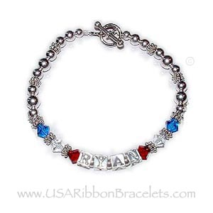 Red White and Blue Name Bracelet