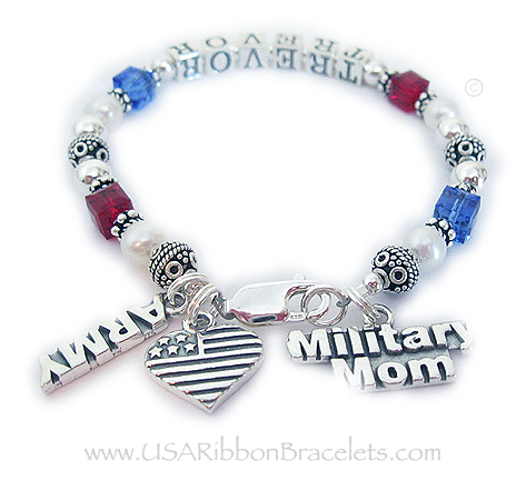 USA-B4 The Red White and Blue Crystal Military Mom Charm Bracelet is shown with TREVOR and 2 add-on charms: Army and Military MOM charm. Shown with one of my free lobster claw clasps.