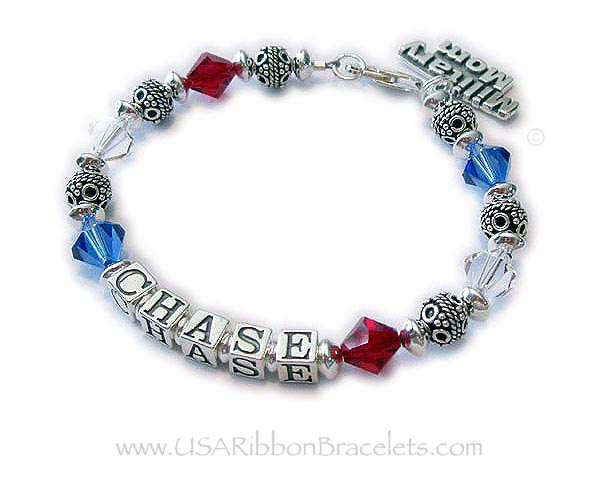 Red White and Blue Bracelet Number 1 Bracelet with the Name Chase and a Military Mom Charm