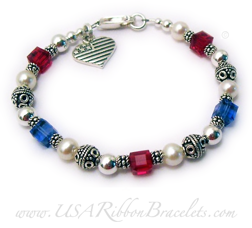 USA-B4  The Red White and Blue Crystal Military Mom Charm Bracelet. Shown with one of my free lobster claw clasps.