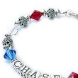 Red White and Blue 8mm crystal bracelet