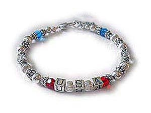 USA Red, White & Blue Bracelet for Military Mommys and Military Grandmas