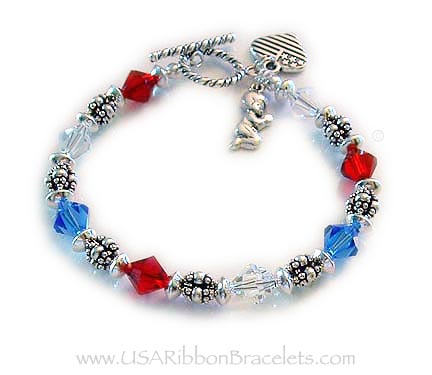 usa flag charm usa flag bracelet 7 1/2 inch sterling silver bracelet with little boy praying for our country