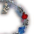 Red White and Blue Bracelet with USA Flag Charm