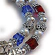2 string Red White and Blue Bracelet with USA FLAG Charm